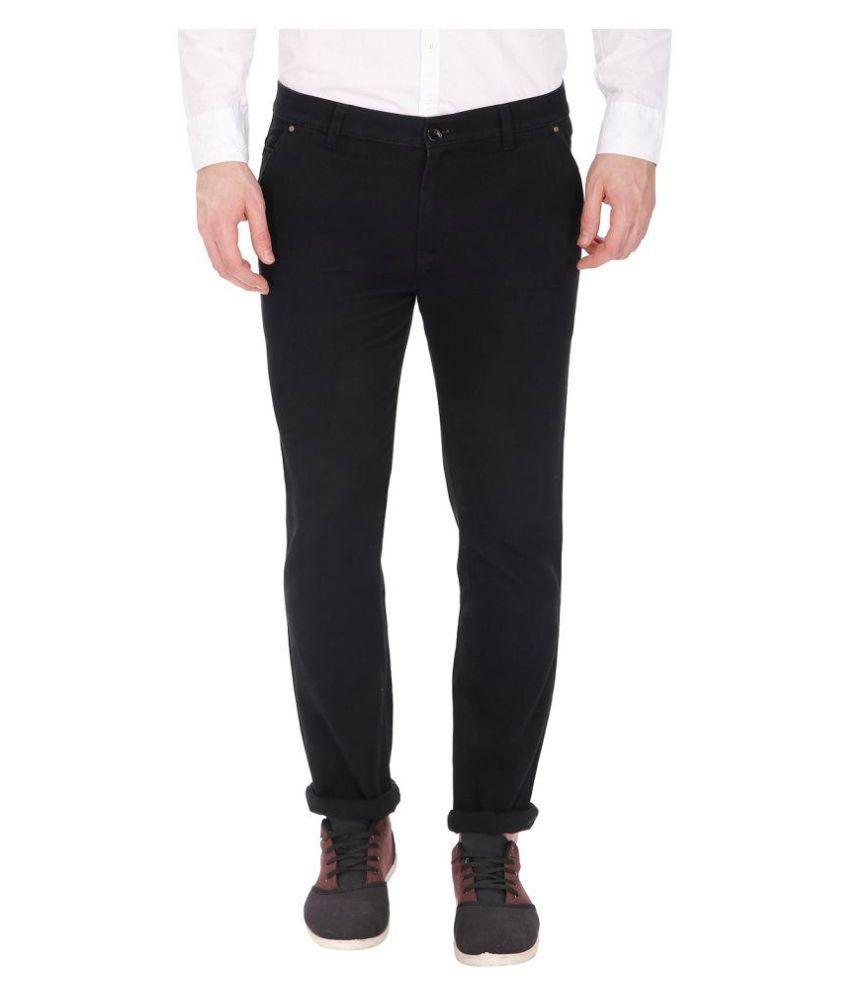 gradely Black Regular -Fit Flat Trousers