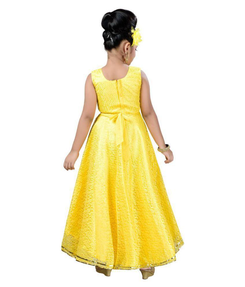 8cdef16088d ... Gown Aarika Girl s Self Design Flower Net Fabric Party Wear Ball ...