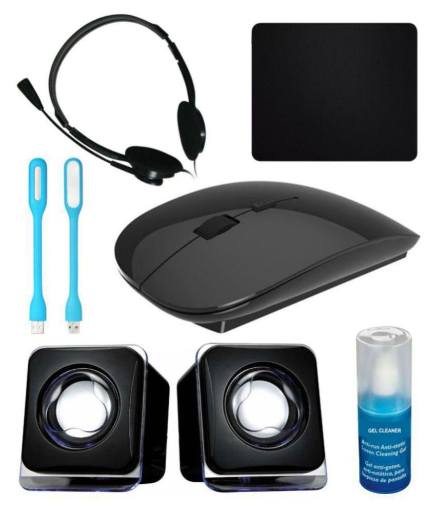 Anwesha Wireless Sleek Mouse 7in1 Combo with Headphone, 2 USB Light, Mouse Pad, Gel Cleaner & USB Powered Mini Speaker at Snapdeal ₹ 699