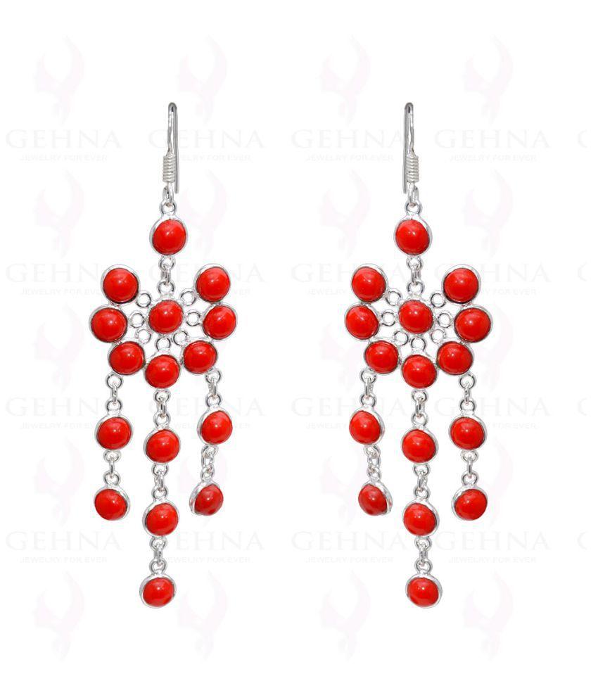 Bezel Jewelry - Red Jasper Cabochons Studded Earrings In 925 Solid Silver
