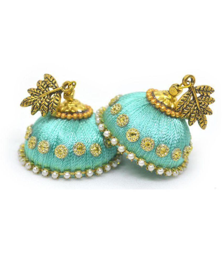 DarkLady Silk Thread Jhumka-Drop Earring Turquoise Glossy Finish| Bead Work For Women & Girls