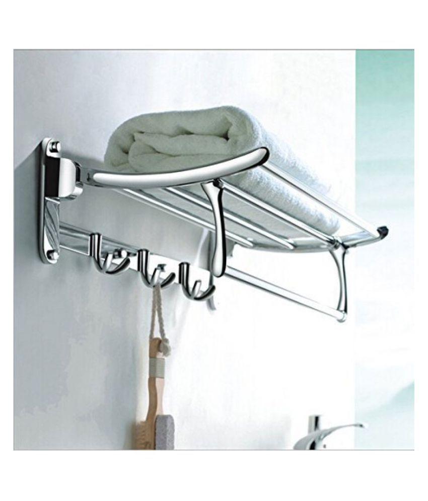 Handy Bathroom Accessories Folding Towel Rack Stainless Steel