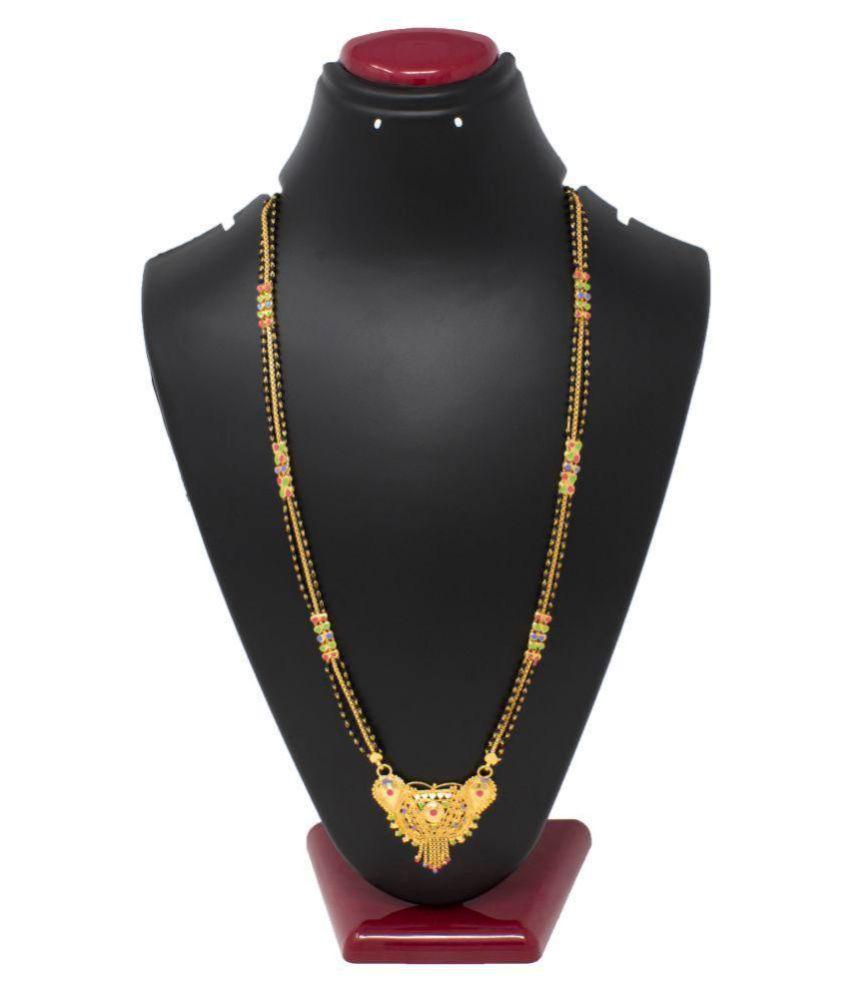 IMC DEALS Indian Mangalsutra 22K Gold Plated Black Beads 26
