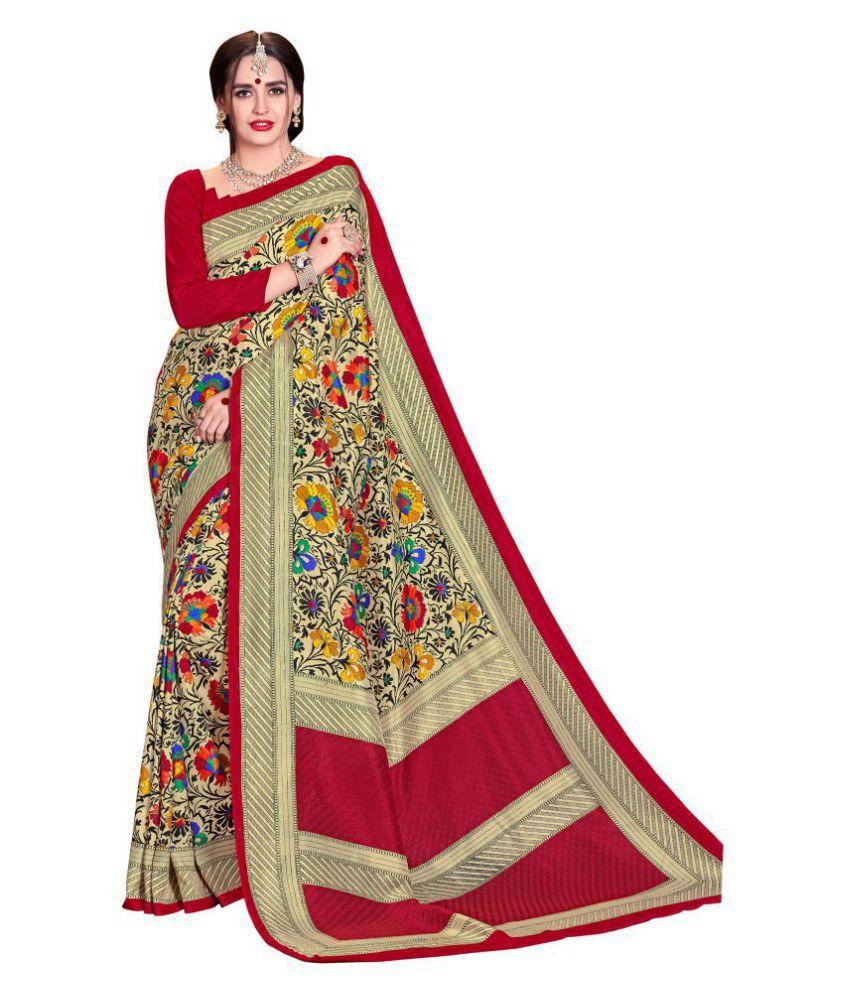 Vimla Red and Beige Mysore Silk Saree