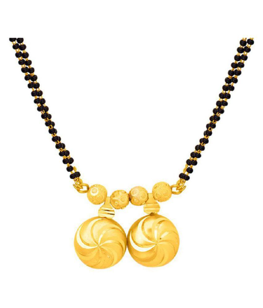 Voylla Vati Mangalsutra In Yellow Gold Plated With Double