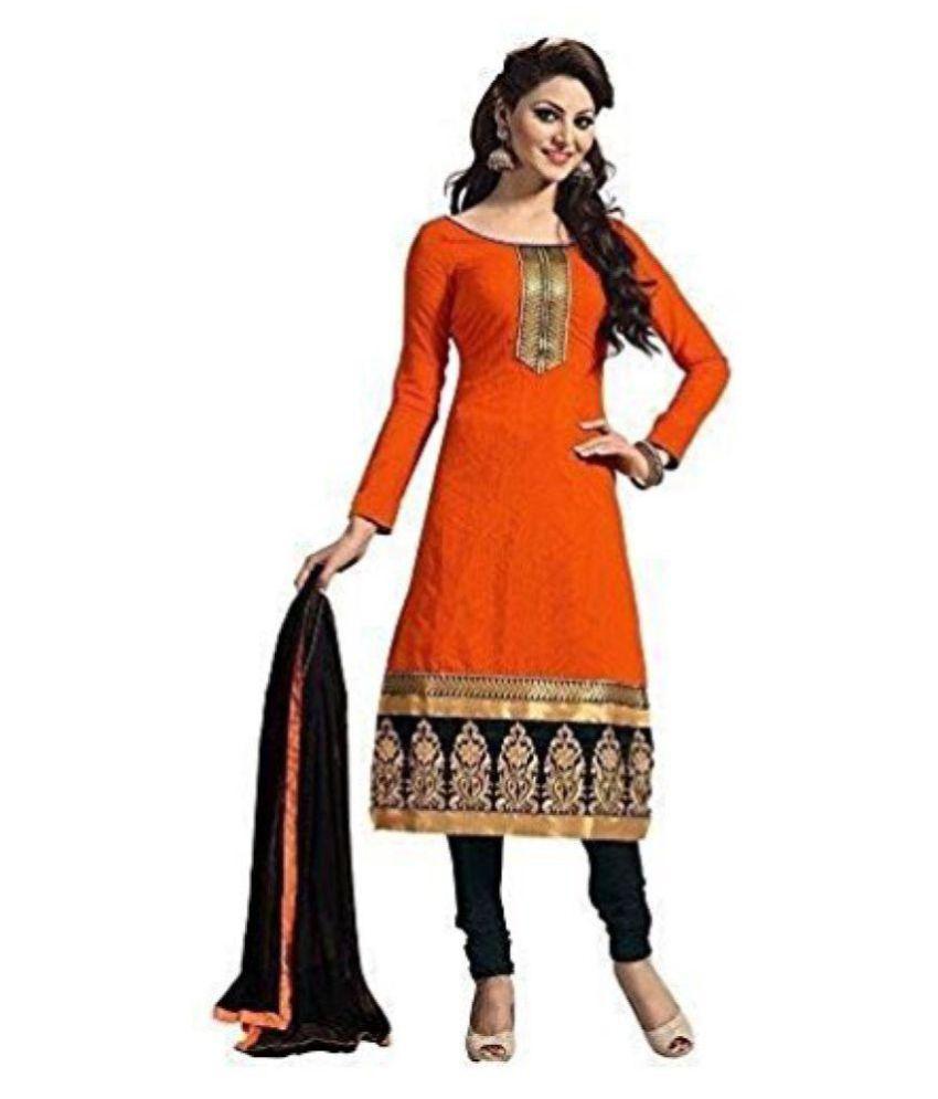 Vrundavan Fashion Orange Cotton Dress Material