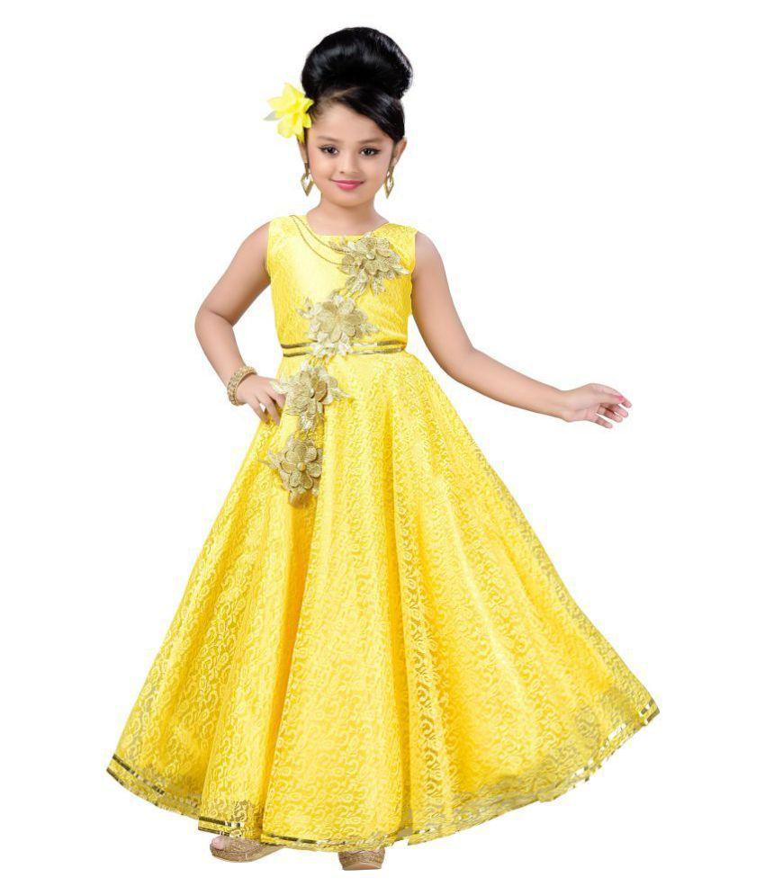 a88ac01b8 Aarika Girl s Self Design Flower Net Fabric Party Wear Ball Gown ...