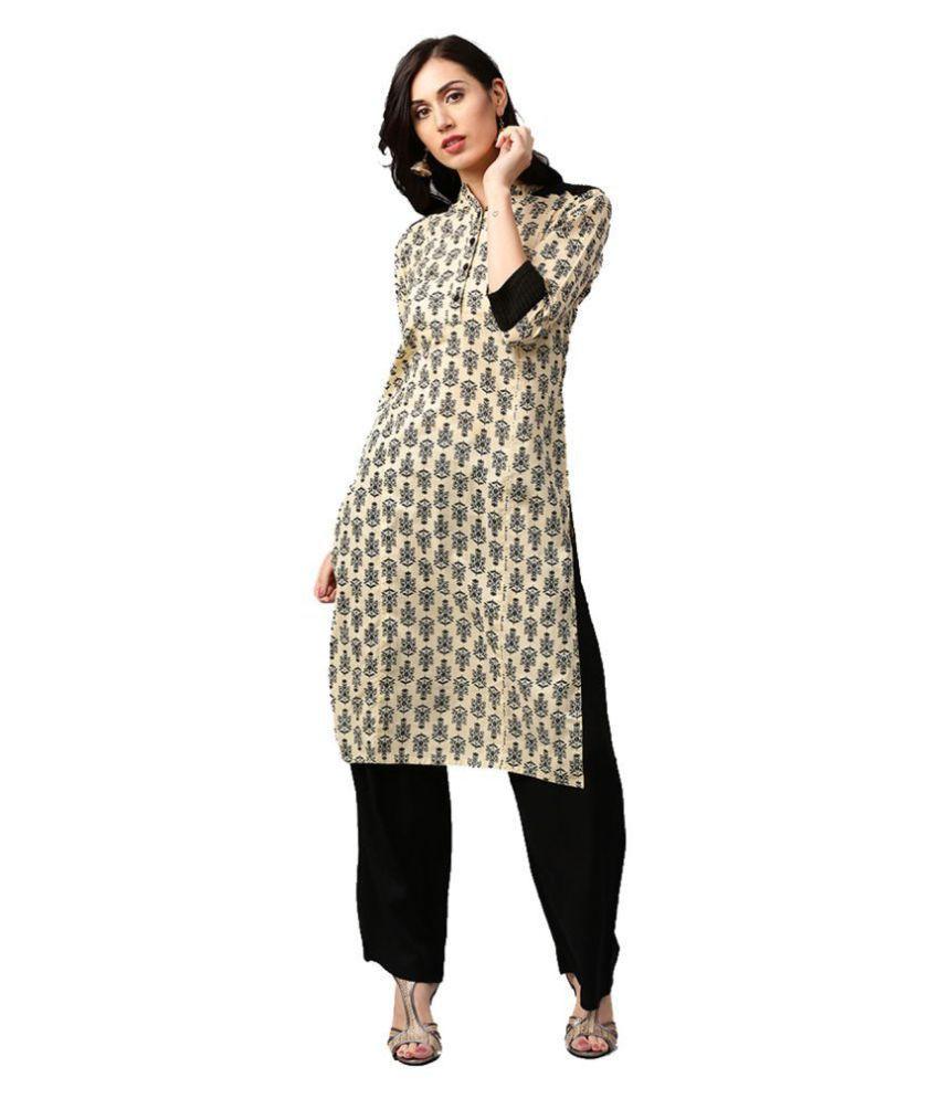 Jaipur Kurti Beige Cotton Straight Stitched Suit