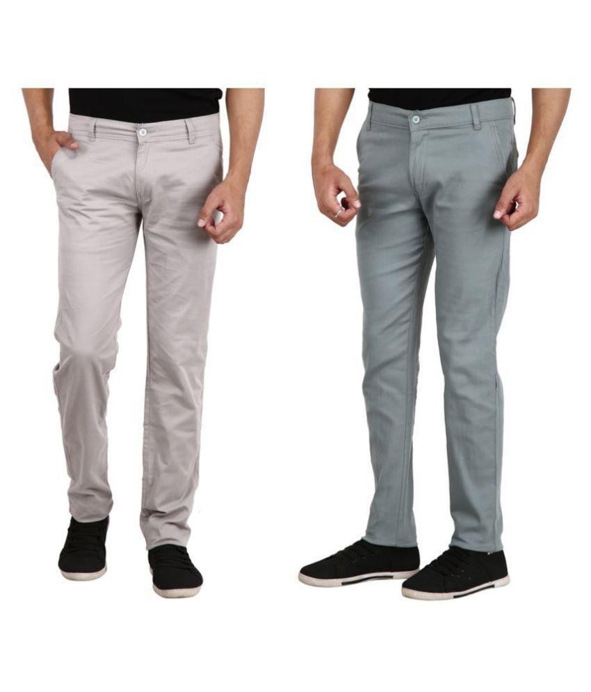 REDMAPLEJEANS Grey Regular -Fit Flat Chinos