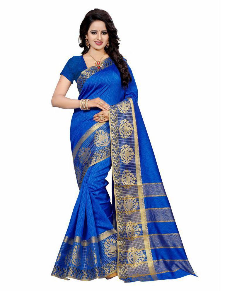 Wedding Villa Blue Cotton Silk Saree