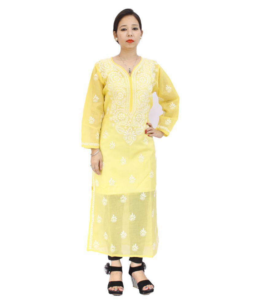 Lucknow Chikan Store Yellow Cotton Straight Kurti