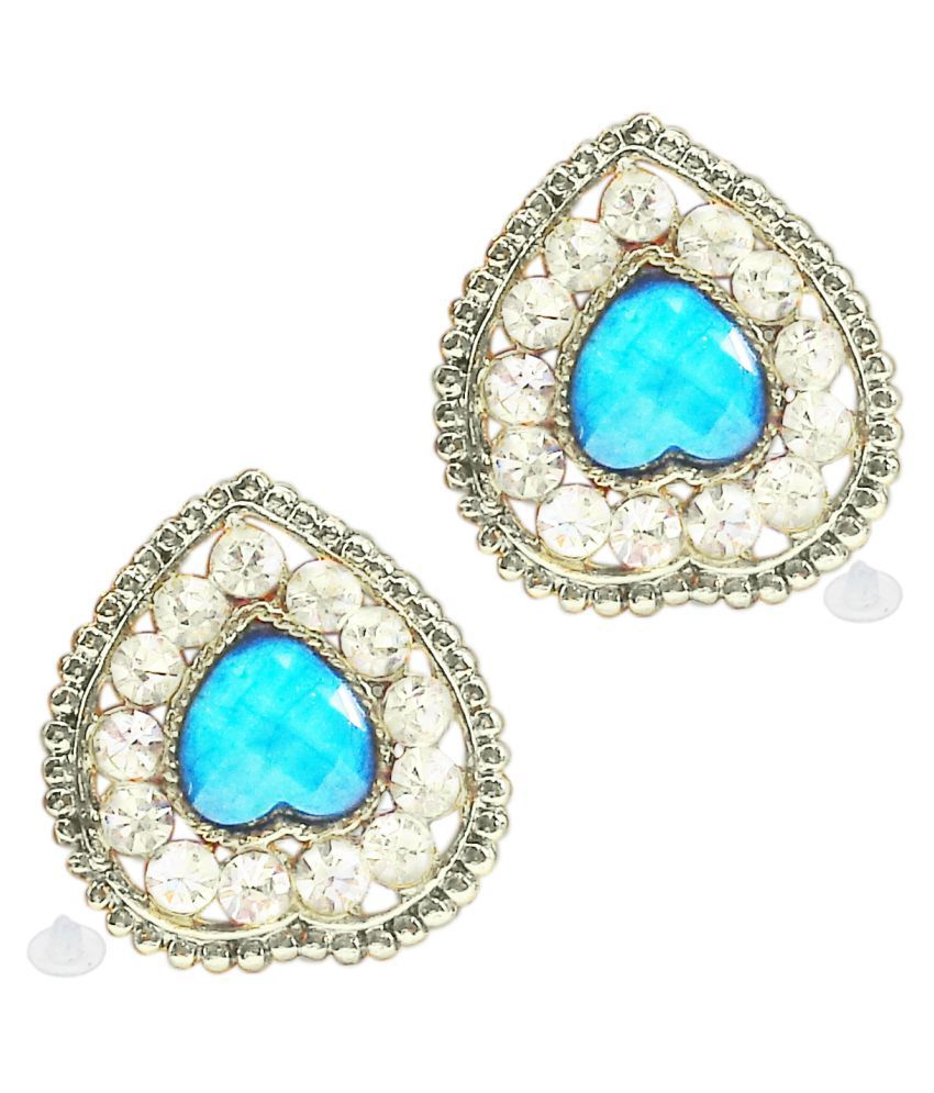Slks India Craft-New Bollywood Designer and Anniversary or Partywear Sky Heart  Earrings