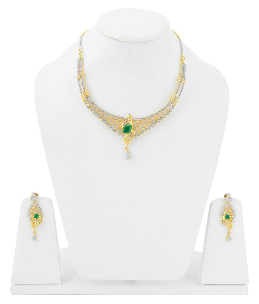 Tistabene Contemporary Modern Gold Plated Beautiful Designer Stylish Fancy Party Wear Necklace Set for Girls And Women (NS-0311)