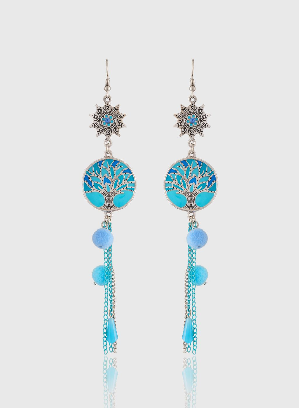 Jazz Beautiful Blue Color Designer Party wear Tassel Silver Plated Designer Dangler Hook Earrings for Girls Ladies