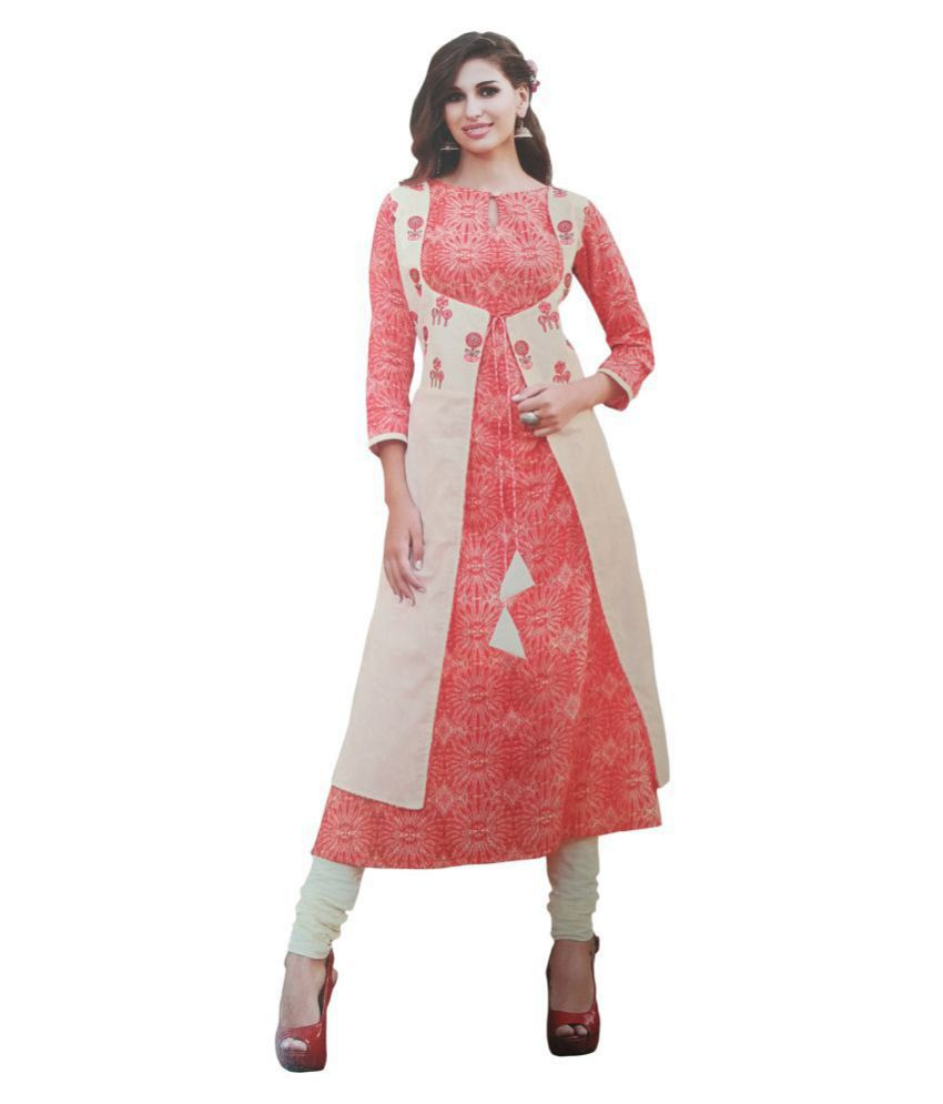 K&G Multicoloured Cotton A-line Kurti