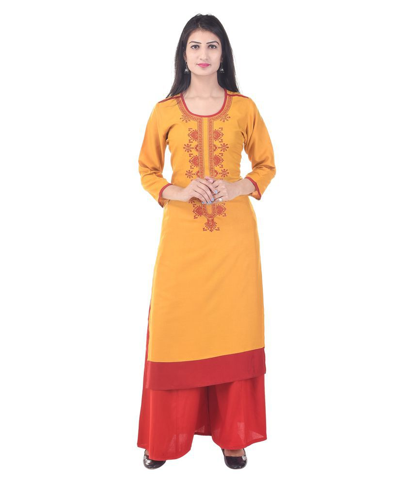 MERSAL Yellow Cotton Straight Stitched Suit