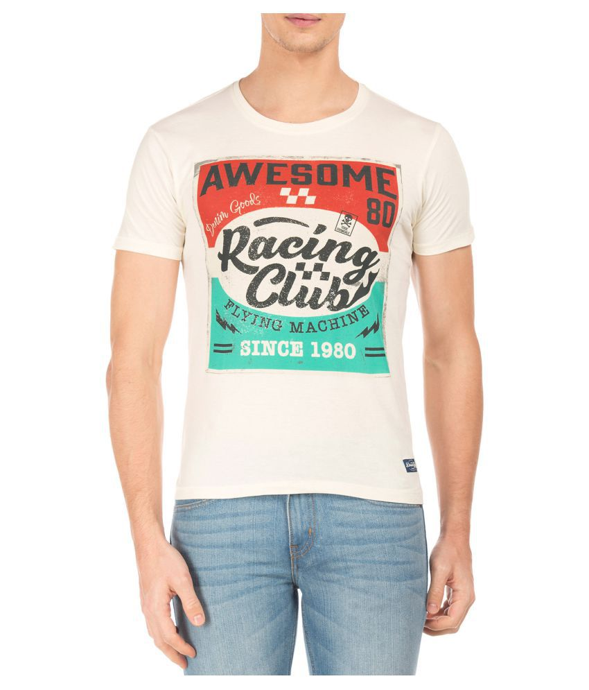 Flying Machine White Round T-Shirt
