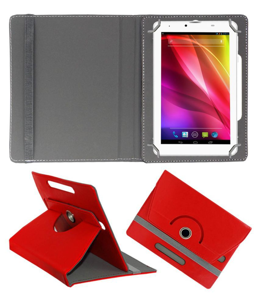Touchmate 7 Flip Cover By ACM Red
