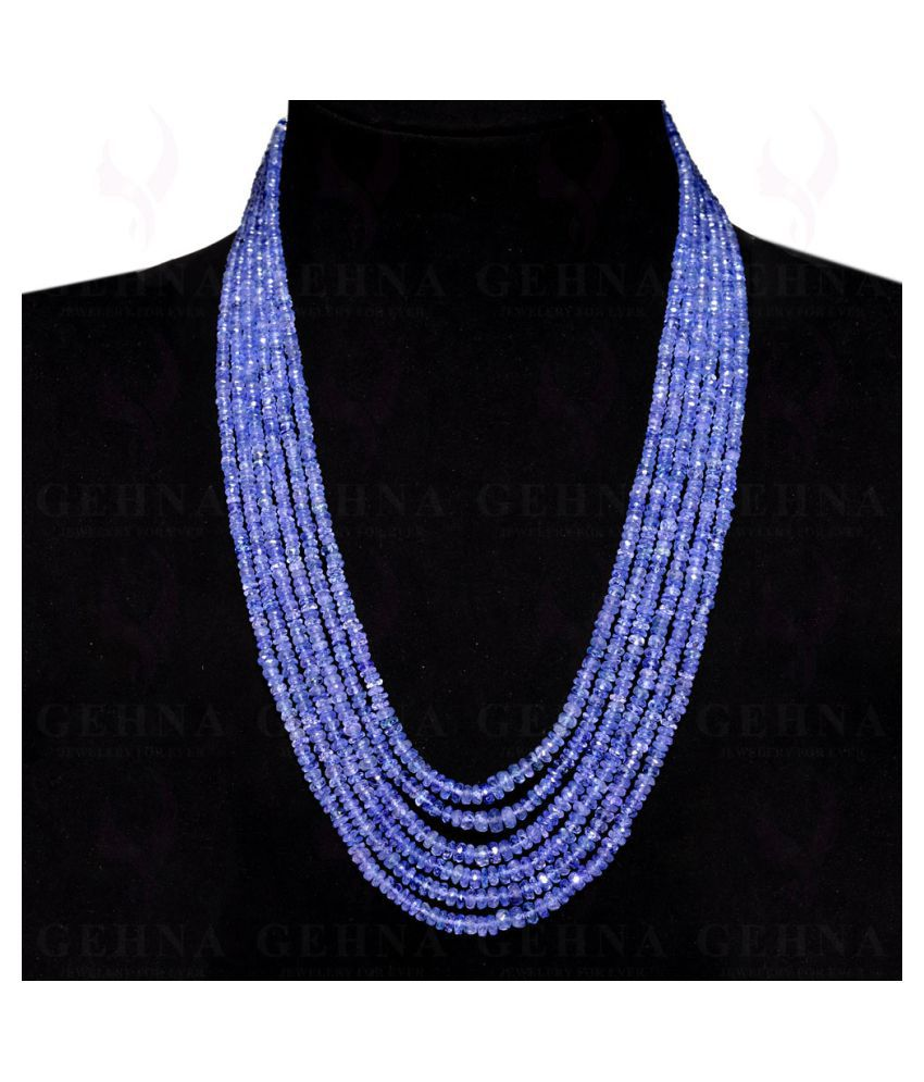 6 Lines 478 Caratss Tanzanite Gemstone Faceted Beads Necklace