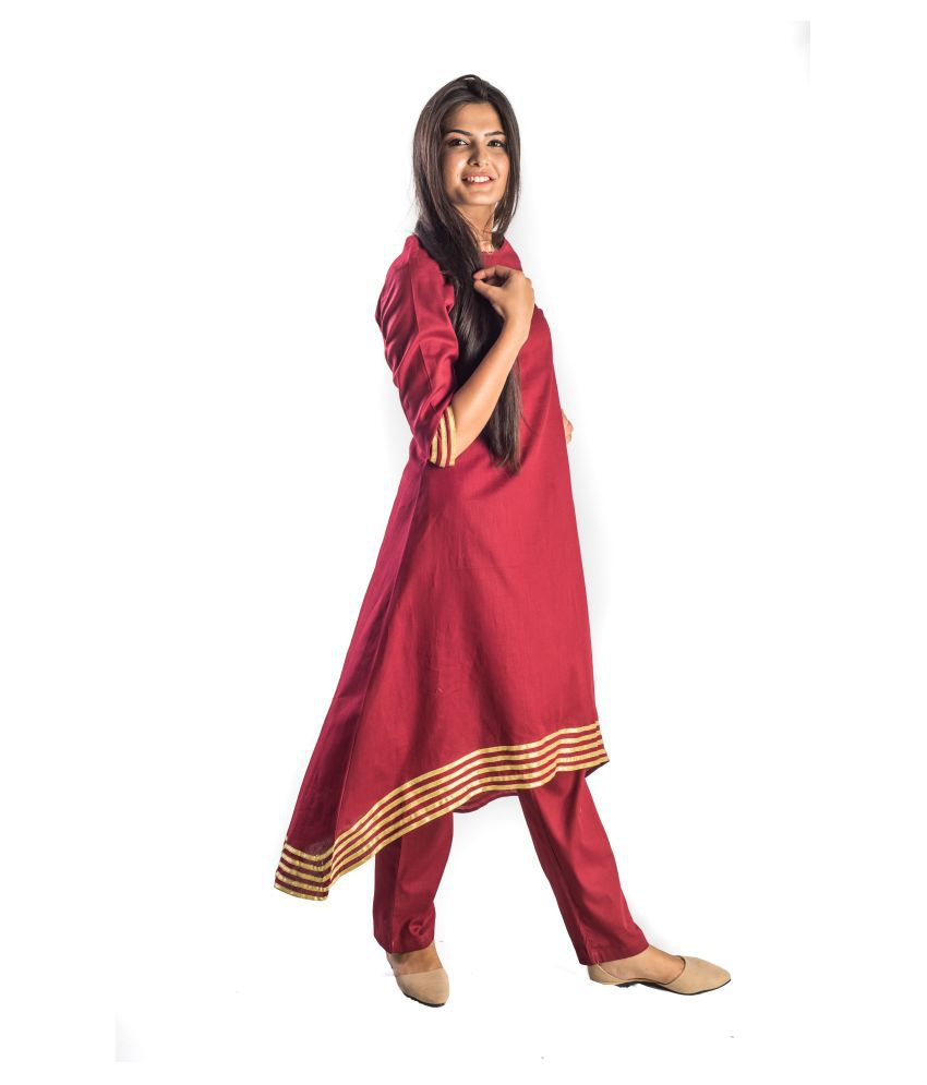 Bliss Red Cotton High Low Hemline Kurti