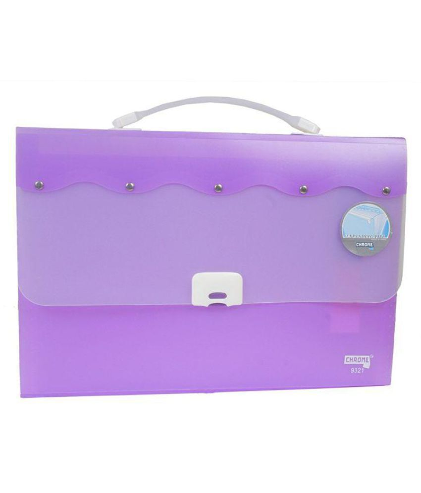Chrome 9321 Expanding File Handle & Lock - 13 Pockets (Purple)