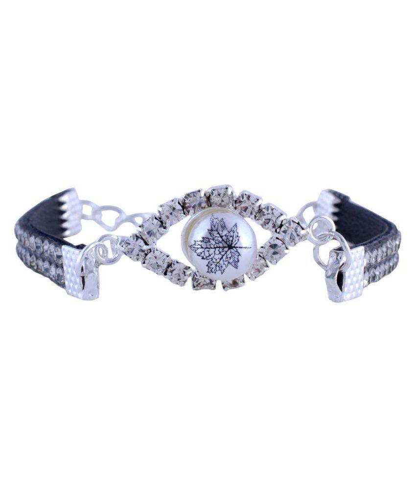 Sanaya Silver and Black Leather Bracelet for Women/Girls (SJBR111SBK)