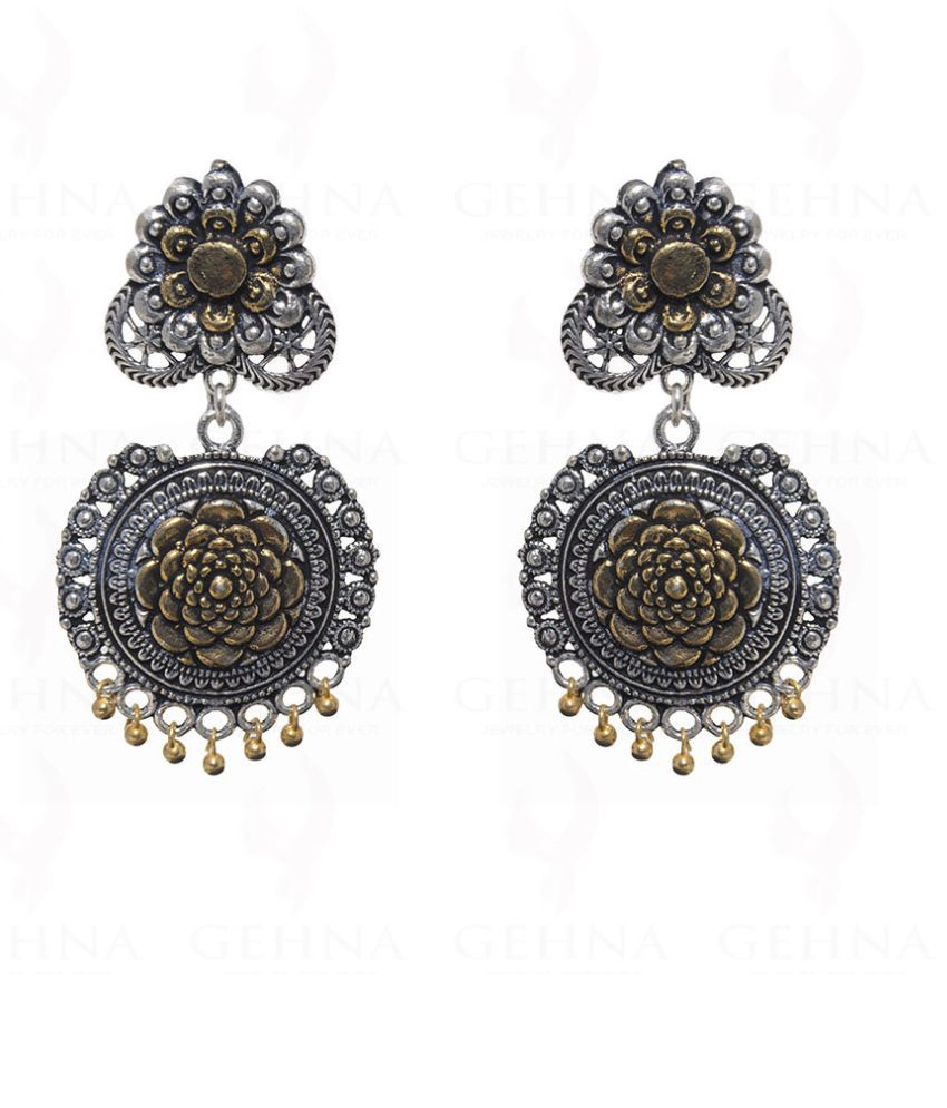 Floral Pattern Earrings With Glossy Finish In .925 Silver Overlay
