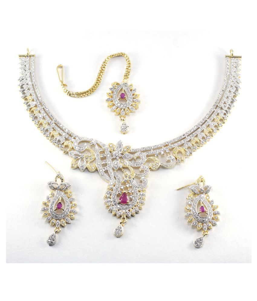 JewelDokan Designer Exclusive American Diamond studded Combo of Necklace set with Earrings and Tikli for Women