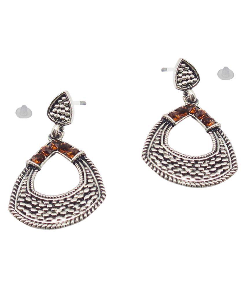 SlksIndia Craft-New Bollywood Designer and Anniversary or Partywear Orange Earrings