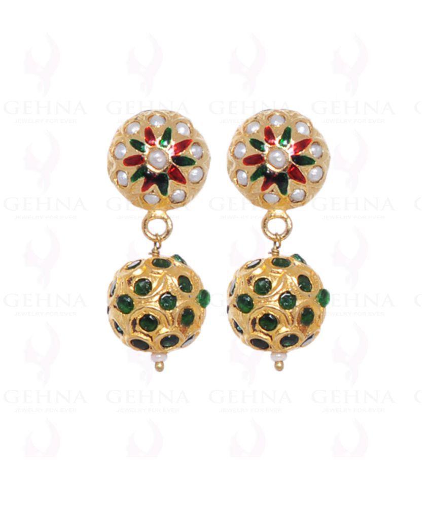 pearl & emerald color stone studded jadau bead earrings
