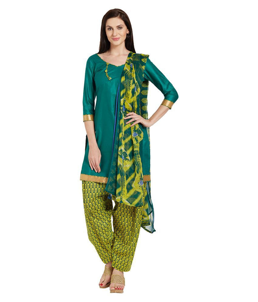 Vkaran Green Cotton Dress Material