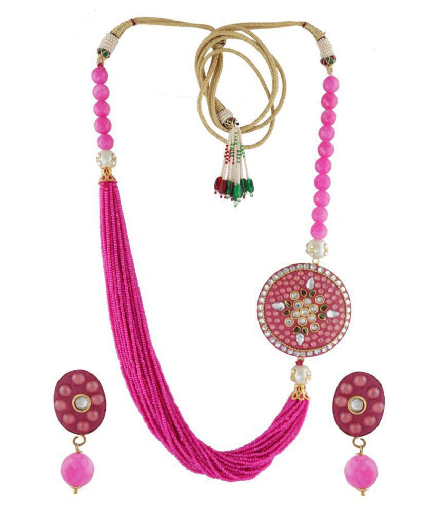 Anuradha Art Pink Colour Styled With Crystal And Pearl Beads Traditional Long Necklace Set For Women/Girls