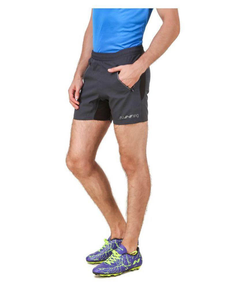 Nivia Dark Grey Polyester Fitness Shorts-2311XL1