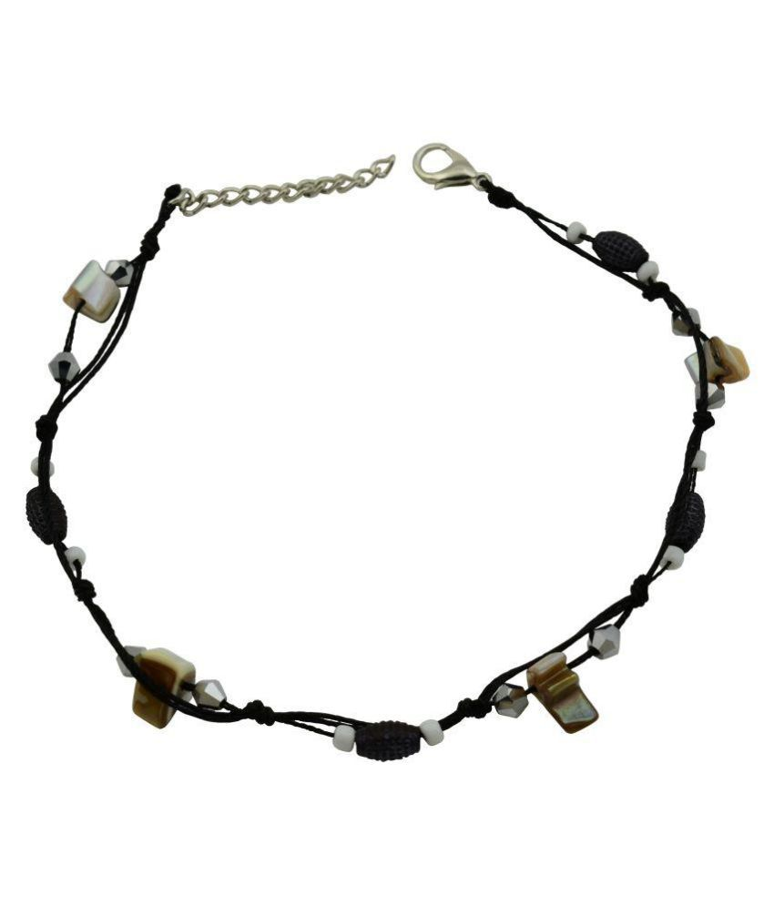 18 Fashion Street Exclusive Black Thread With Multi Colored Beads Single Anklet For Women and Girls