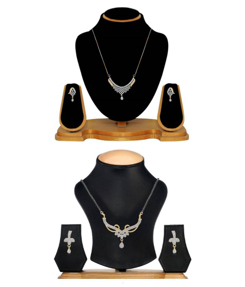 Aabhu Conventional Combo of 2 Mangalsutra with Earrings Pair Jewellery Set for Women