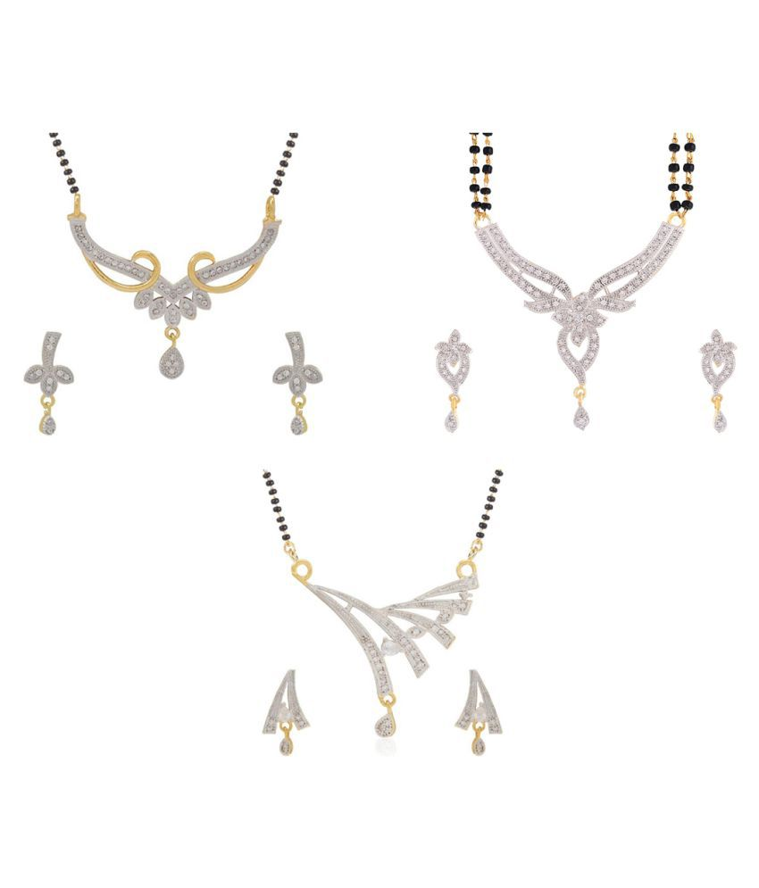 Aabhu Conventional Combo of 3 Mangalsutra with Chain and Earrings Jewellery Set for Women
