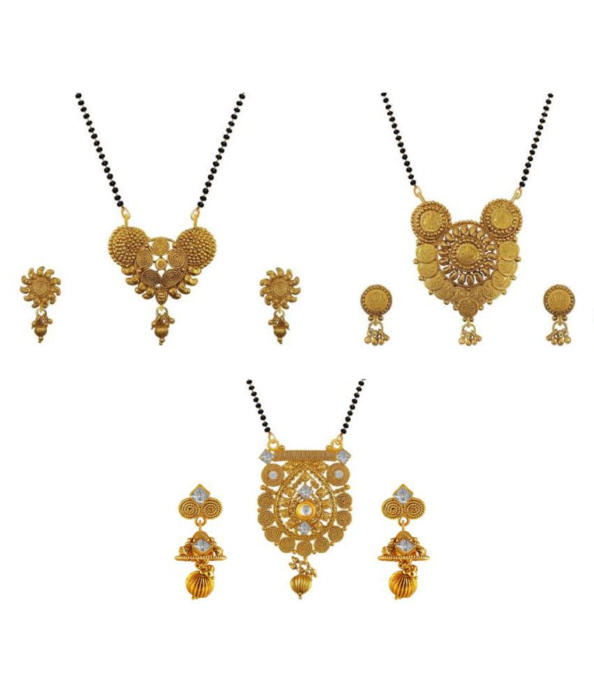Aabhu Fashionable Combo of 3 Mangalsutra with Earrings Pair Jewellery Set for Women