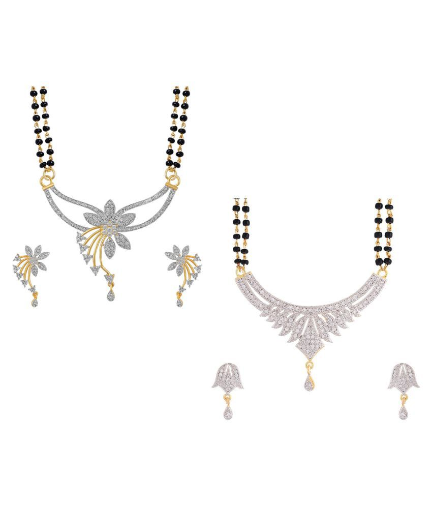 Aabhu Regular Combo of 2 Mangalsutra with Earrings Pair Jewellery Set for Women