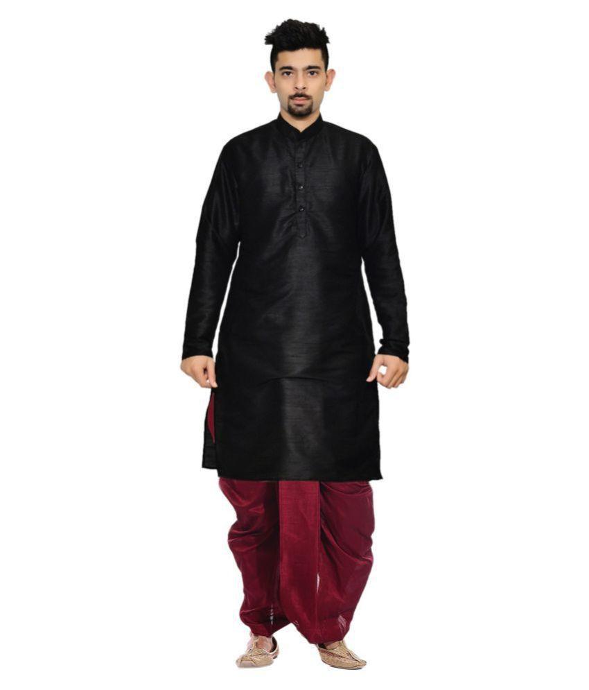 AMG Black Silk Dhoti Kurta Set Pack of 2