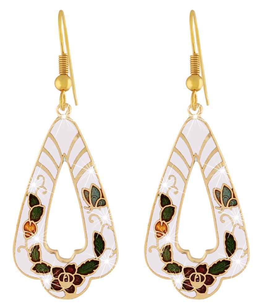 Jazz Party wear Designer Meenakari White Flower Design Dangler Earring for Girls Ladies
