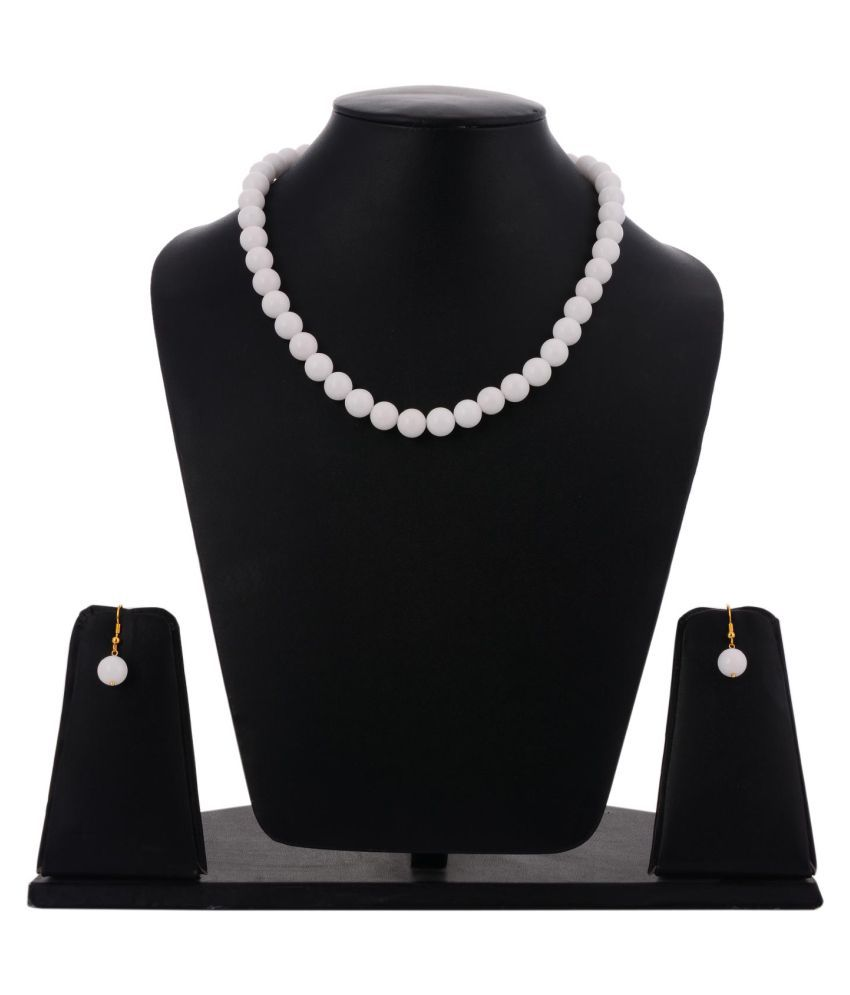 Tistabene Beaded White Single Stranded Modern Designer Stylish Fancy Party Wear Necklace Set for Girls And Women (NS-0411)