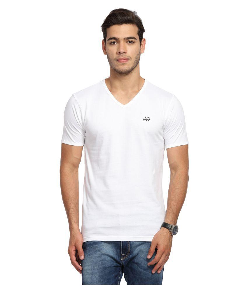 Handgrip White V-Neck T-Shirt