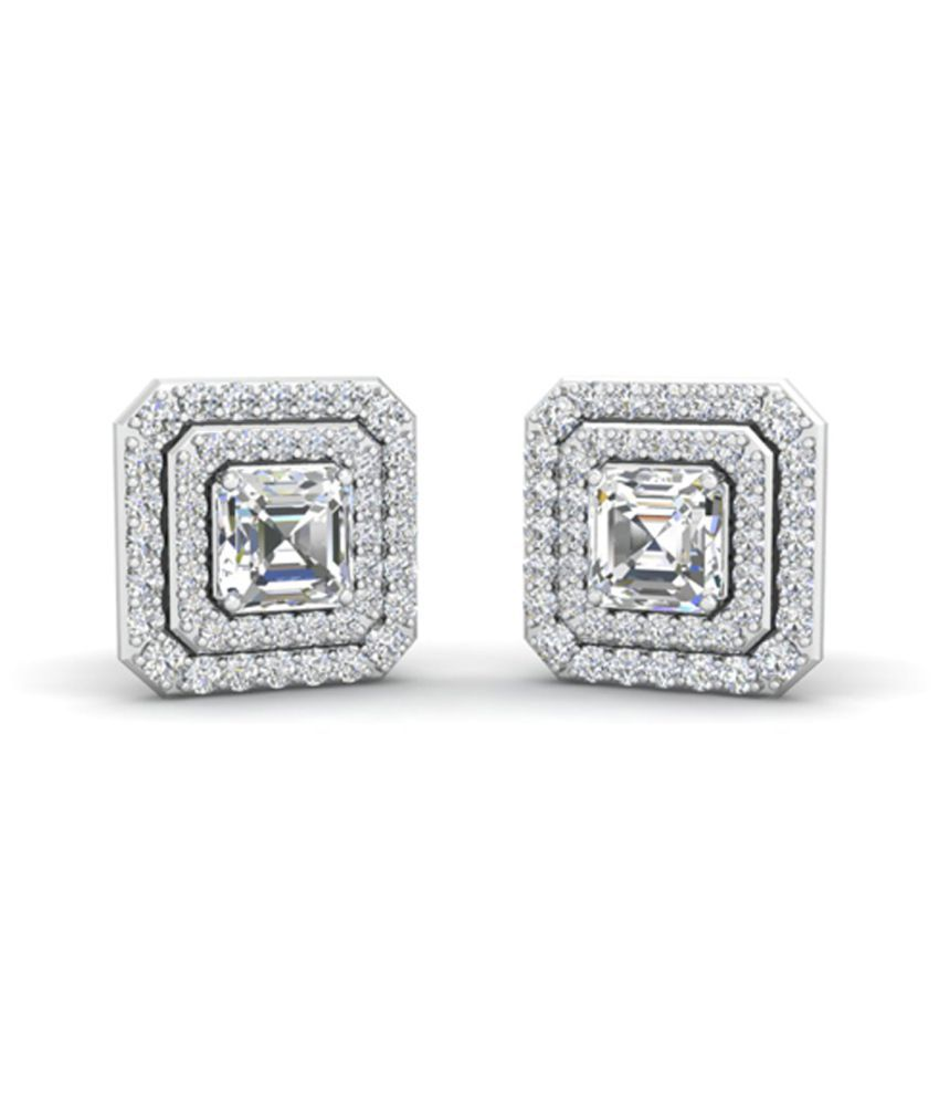 Shreeji Jewels The Princess Solitaire Pure Silver Cubic Zirconia Sterling Silver Stud Earring
