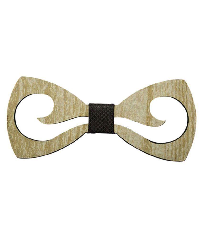 Visach Beige Plain Wooden Necktie