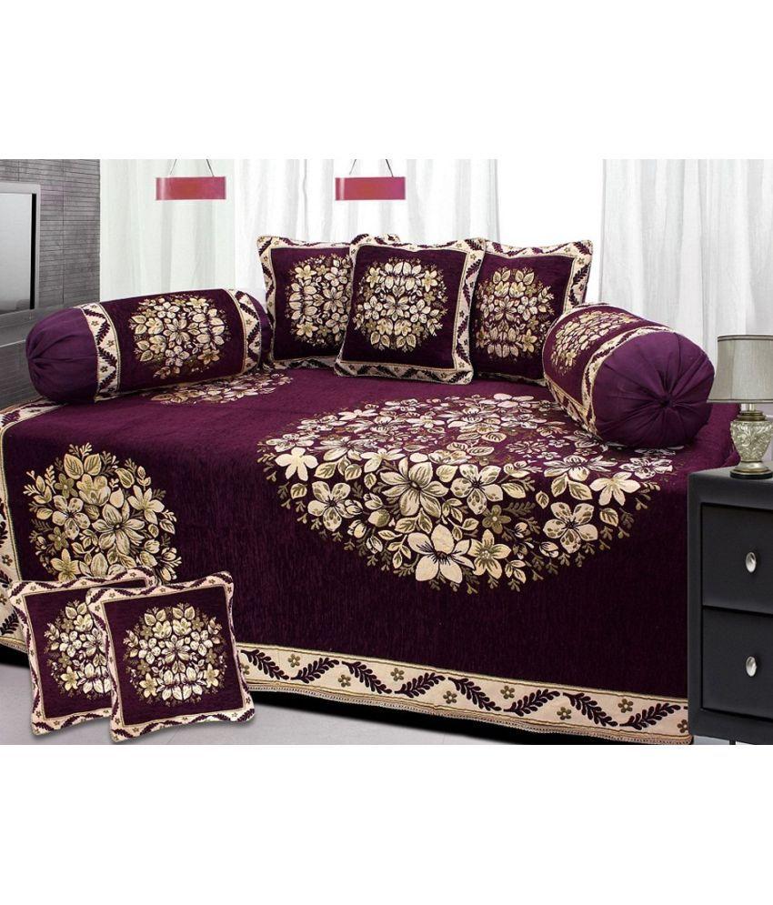 Fresh From Loom Velvet Purple Floral Diwan Set 8 Pcs