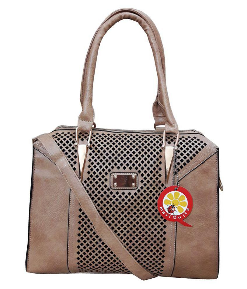 mariQuita Beige P.U. Shoulder Bag