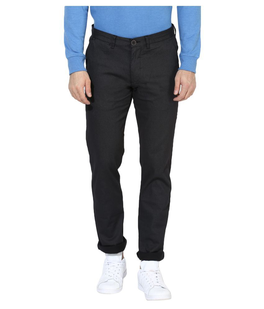 Red Tape Grey Slim -Fit Flat Trousers