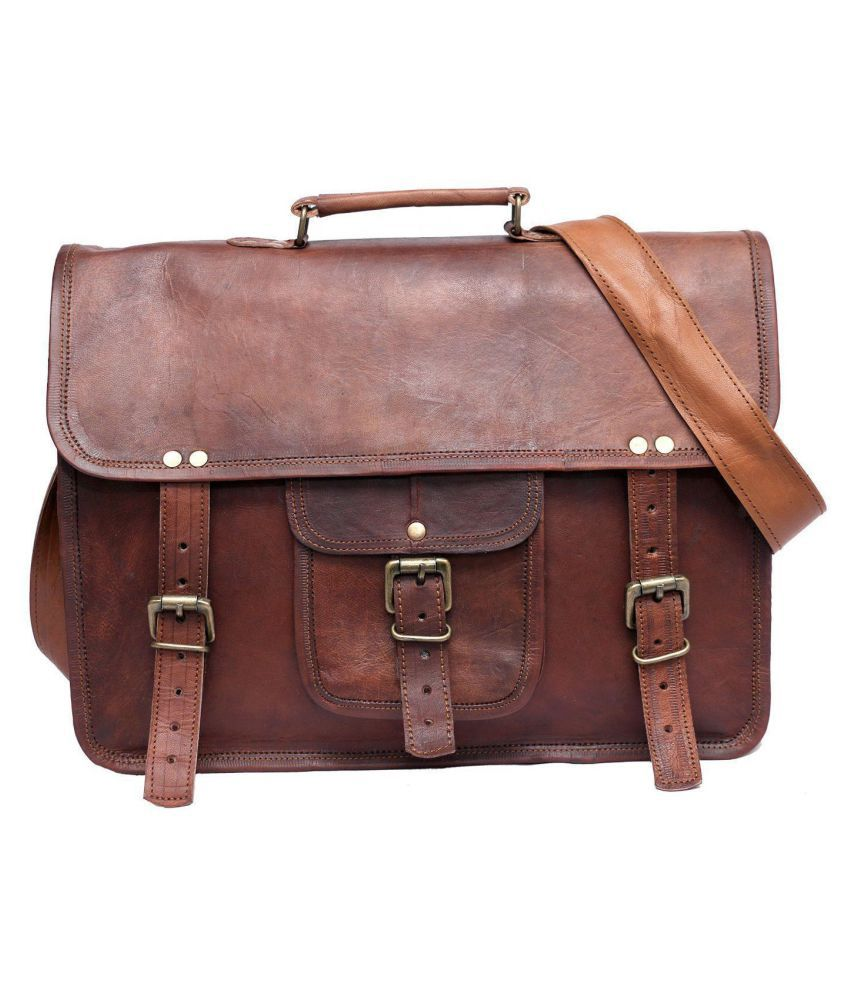 Anshika International vintage leather laptop messenger bag Brown Leather Briefcase