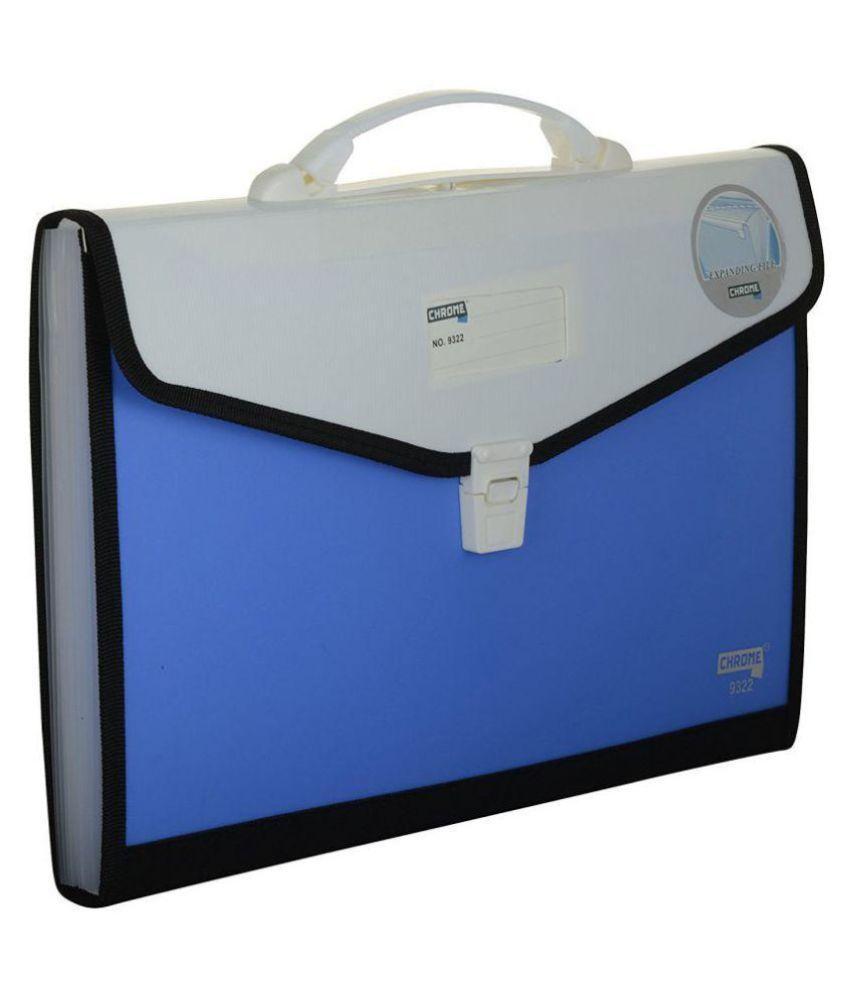 Chrome 9322 Expanding File Handle & Lock - 13 Pockets (Blue)
