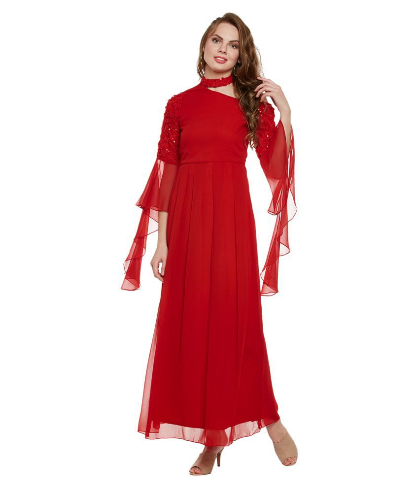 Athena Polyester Red Fit And Flare Dress Buy Athena